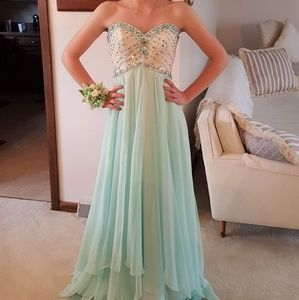 Mori Lee Teal and Cream Strapless Gown - Size 2